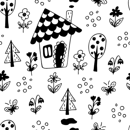 Hand drawn seamless pattern with small house, trees and flowers. Иллюстрация