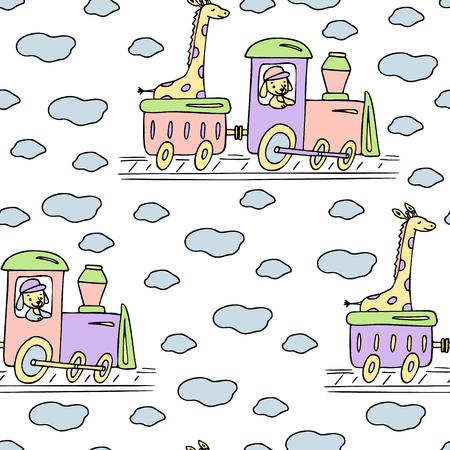 Hand drawn seamless pattern with train, giraffe and dog.
