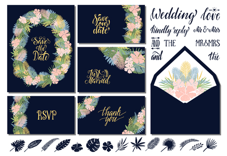 Set of wedding invitations templates with tropical leaves and flowers and hand lettering. Save the date, thank you, rsvp, love.
