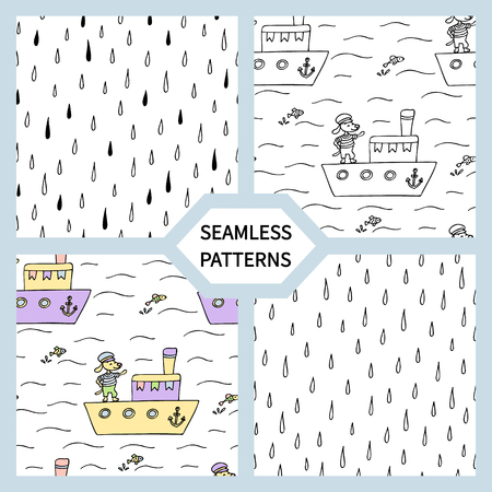 Set of seamless patterns with cute dog on a ship. Иллюстрация