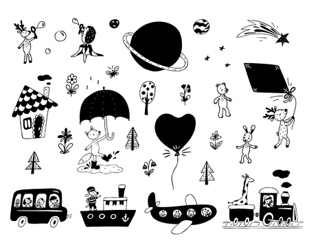 Clip art set of cute animals, transport, flowers, trees, small house, planets. Vector illustration.