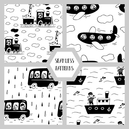 Set of seamless patterns with cute animals and transport. Иллюстрация
