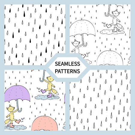 Set of seamless patterns with cute fox with umbrella.