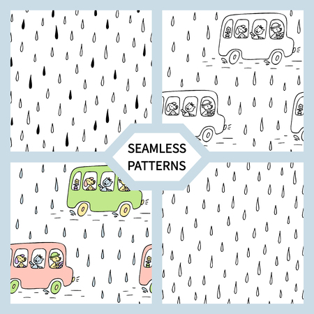 Set of seamless patterns with bus, cute animals.