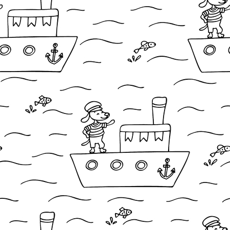 Hand drawn seamless pattern with cute dog on a ship.