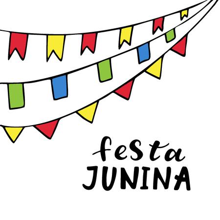 Festa Junina. Hand drawn lettering.Vector illustration.