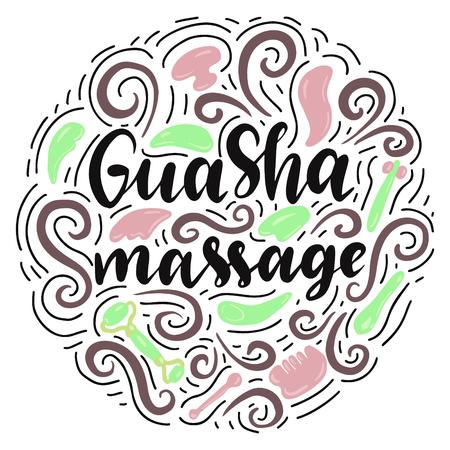 Gua Sha massage lettering with massage tools. Vector illustration. Stock Illustratie