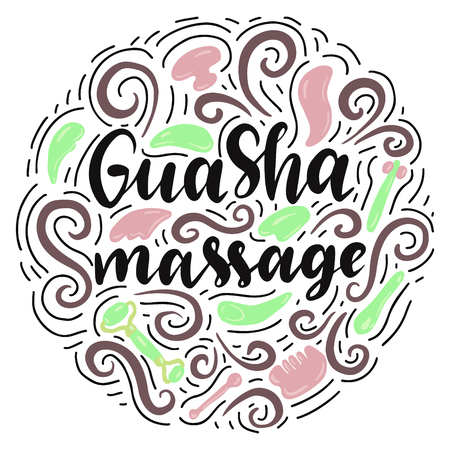 Gua Sha massage lettering with massage tools. Vector illustration. Illustration