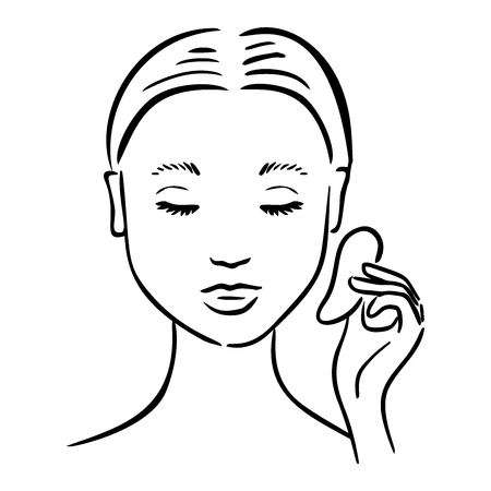 Gua Sha facial massage. Woman with stone massage scraper. Stock Vector - 109878767