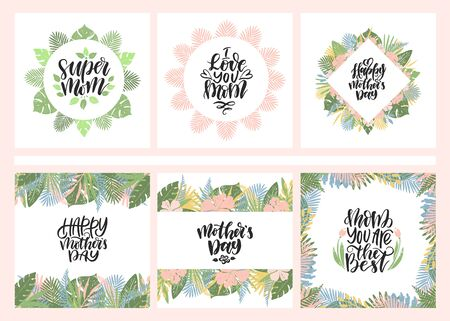 Set of mothers day cards with hand drawn lettering. Happy mothers day, Super mom, Best mom ever, I love you mom. Ilustração