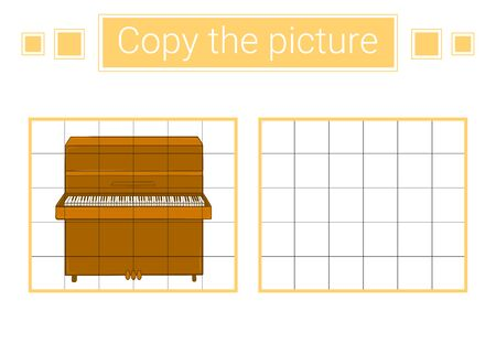 Copy the picture. Piano. Educational children game.  Stock Illustratie