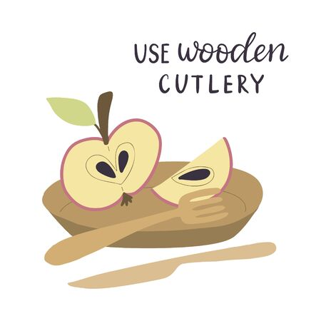 Use wooden cutlery. Vector illustration with  bamboo cutlery. Illusztráció