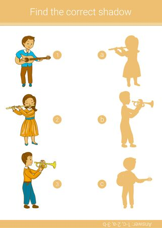 Find the correct shadow.Children educational game.Vector illustration. Ilustracja