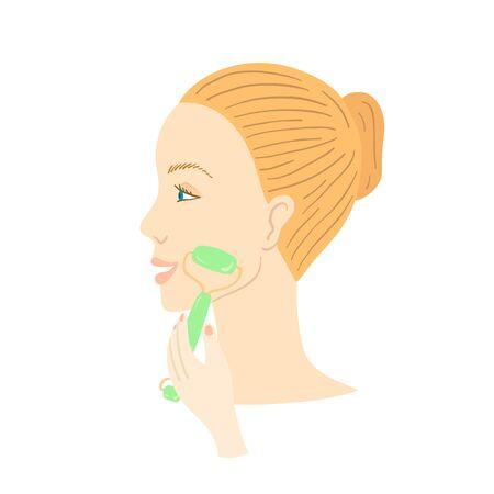Facial Gua Sha massage. Woman with facial jade roller. Vector illustration.