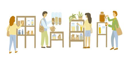 Zero waste shop. Customers, women, men. Vector illustration.