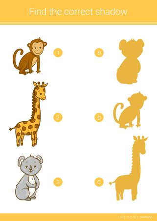 Find the correct shadow. Children educational game. Giraffe, koala, monkey. Vector illustration.