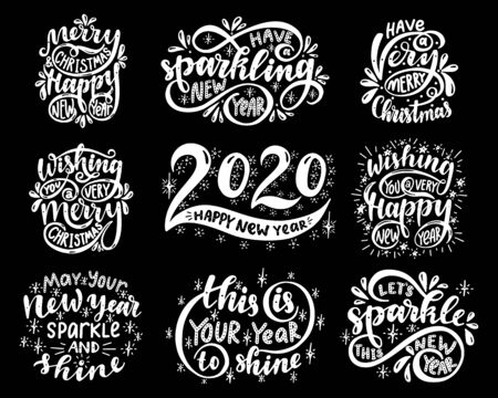 Lettering set. 2020. Merry christmas & happy new year. Wishing you a very merry christmas. Wishing you a very happy new year.