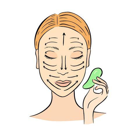 Gua Sha facial massage. Woman with stone massage scraper.  イラスト・ベクター素材