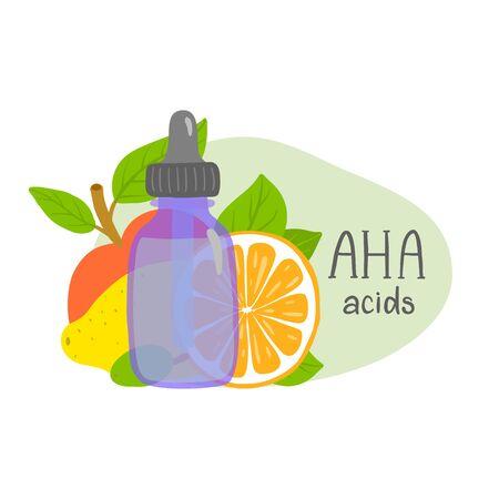 Aha acids. Packaging design. Fruits.