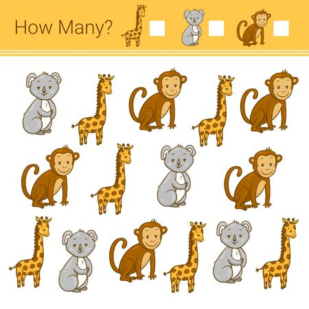 How many? Vector illustration of counting game. Count how many animals?  イラスト・ベクター素材
