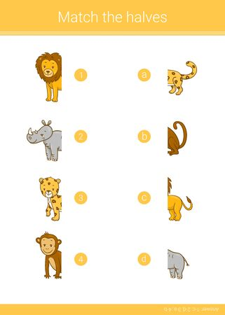 Match the halves of  rhino, lion, leopard, monkey. Educational children game.