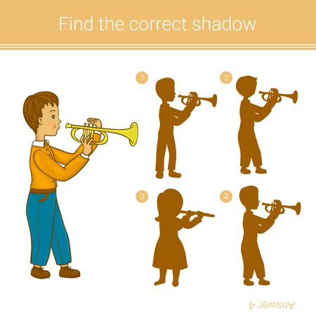 Boy playing trumpet. Find the correct shadow.Children educational game.Vector illustration.
