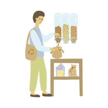 Zero waste shop. Man with a cloth shopping bag. Vector illustration.