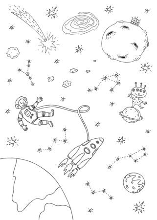 Vector illustration of space, astronaut, spacecraft, planets, moon, alien. Coloring page.