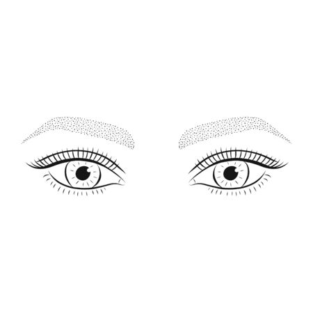 Microshading eyebrows. Womans eyes and eyebrows. Vector illustration.