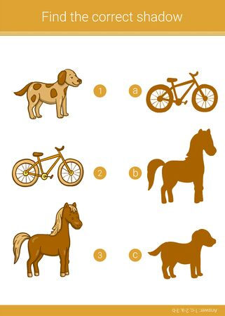 Children educational game. Find the correct shadow. Ilustracja