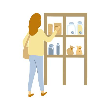 Zero waste shop. Woman with a cloth shopping bag. Vector illustration.