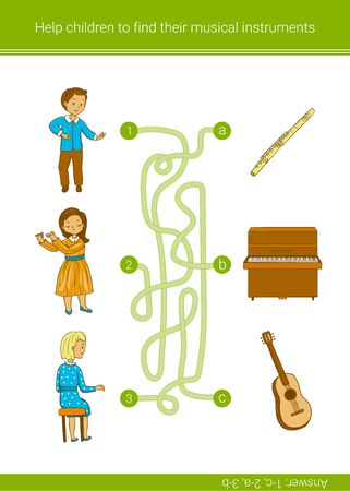 Children education game. Help children to find their musical instruments. Vector matching game.