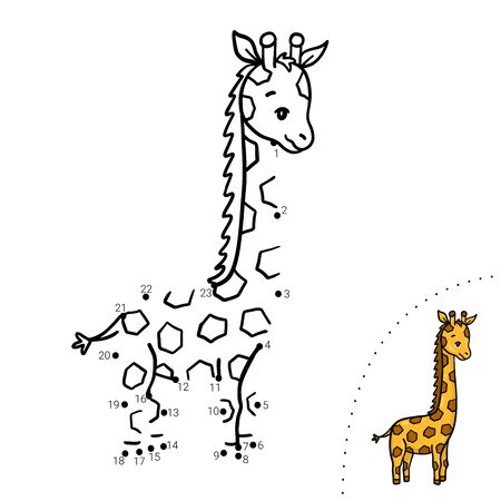 Educational children game. Dot to dot. Giraffe. Coloring book.  イラスト・ベクター素材