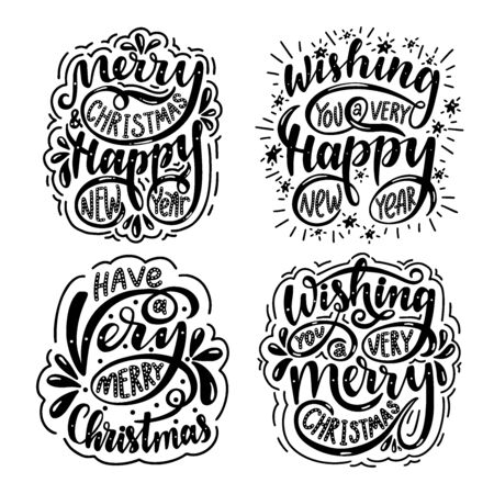 Lettering set. Merry christmas & happy new year. Wishing you a very merry christmas. Wishing you a very happy new year.