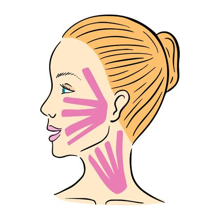 Young womans profile face with facial kinesio tape. Vector illustration.