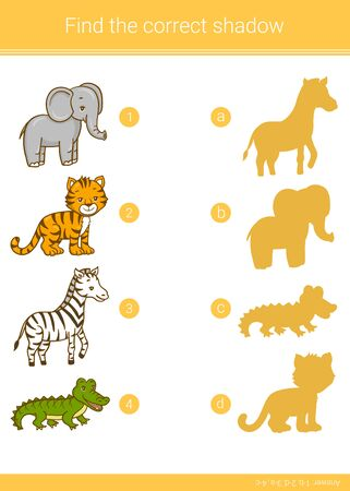 Find the correct shadow.Children educational game. Zebra, tiger, crocodile, elephant. Vector illustration.