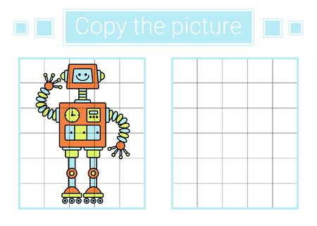 Copy the picture. Robot. Educational children game.