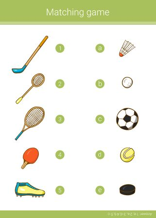 Children educational game. Match elements. Vector matching game. 写真素材 - 129258535