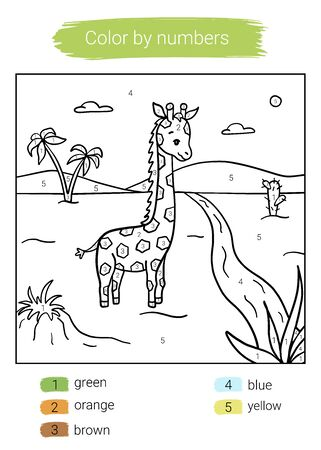 Color by number. Giraffe. Educational children game. Coloring book.