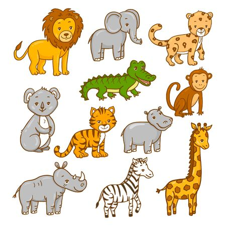 Set of wild africa animals. Vector illustration.
