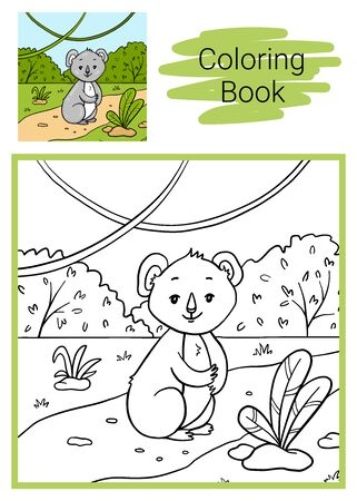 Educational children game. Koala. Coloring book. 写真素材 - 129258573