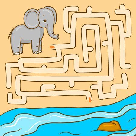 Maze with animal. Educational children game. Elephant. 写真素材 - 129258555