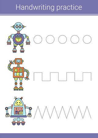 Handwriting practice. Educational children game. Vector illustration. Robots.