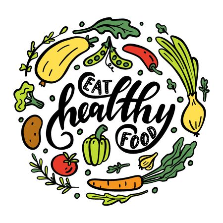 Eat healthy food. Motivational phrase. Hand drawn illustration with hand lettering.  Stock Illustratie