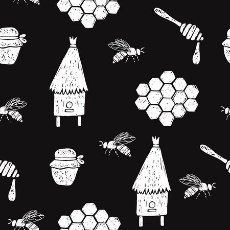 Seamless pattern with honeycomb, bees, beehive, jar, spoon. Vector hand drawn illustration.  イラスト・ベクター素材