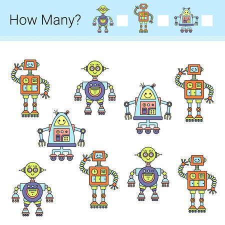 How many? Vector illustration of counting game. Robots. 写真素材 - 129258571