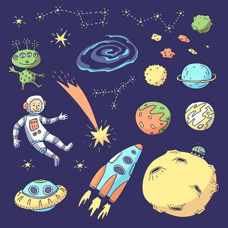 Cosmic set. Vector illustration of astronaut, spacecraft, planets, moon, alien, constellations, comet.