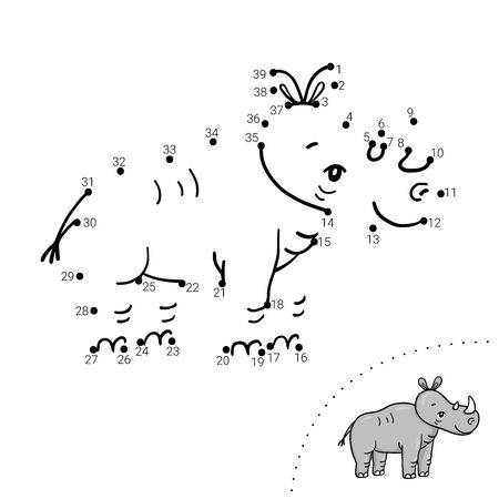 Educational children game. Dot to dot. Rhino. Coloring book.
