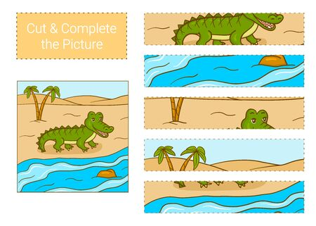 Cut & complete the picture.  Crocodile. Educational children game.  イラスト・ベクター素材