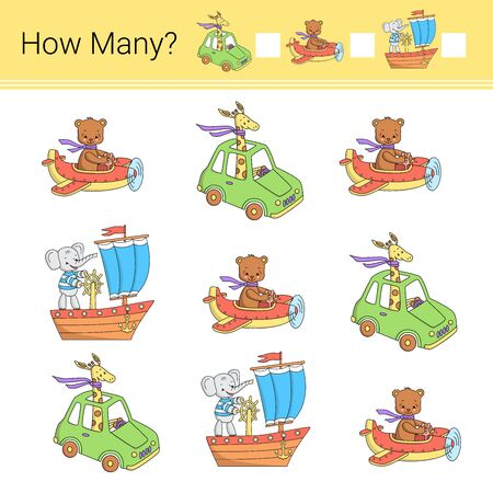 How many? Vector illustration of counting game. Transport.